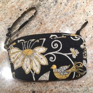 Vera Bradley wristlet black and yellow pattern